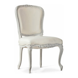 Eloquence - Colette French Country Ivory Leather Chalk Grey Wood Dining Side Chair - This pair of chalk-grey upholstered chairs complement a formal dining room or a romantic living room. Versatile and beautiful, the floral carvings are highlighted in a shimmering grey. Frost white leather cushions offer comfortable seating for your friends and family.