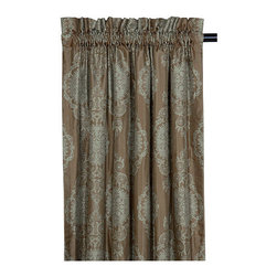 "Frontgate - Marabella Dark Curtain Panel - 108"" x 48' - From Eastern Accents. Dry clean only recommended. Because this product is specially made to order, please allow 4-6 weeks for delivery. Swathe your room in breathtaking opulence with the Marbella Bedding Collection. This pearlescent bedding is simply gorgeous in shimmering metallic-toned fabrics. .  . . Made in USA of imported goods. Coordinates with the Marbella Bedding Collection."