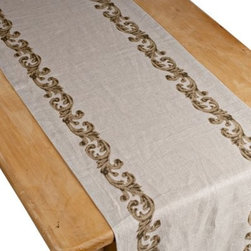 GG Collection Linen Table Runner with Scroll Design - This Gerson GG Collection Linen Table Runner with Scroll Design is the finishing touch your dining table needs to unify the traditionally styled place settings and dinnerware of Gerson's luxurious GG Collection. Made from luxuriously soft 100% linen with matching scrollwork borders, this lovely table runner is safe for both washing machine and dryer.