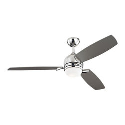 Monte Carlo - Muirfield Ceiling Fan - Muirfield Ceiling Fan is available in a Polished Nickel or Roman Bronze finish with Matte White Opal glass.    Triple capacitor, 3 speed reversible motor. Precision balanced motor and blades for wobble-free operation. 12 degree blade pitch designed for optimal air. Includes Wall / Hand Remote with downlight. One 100 watt, 120 volt T4 type Mini Candelabra base Halogen lamp is included. 52 inch width x 15.375 inch height. cUL Listed for Dry Locations.