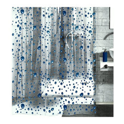 PVC Free Shower Curtain - Bubble Design - Great for a kid's bathroom, this shower curtain is sure to make a splish splash in your bath, too. Cartoon-like, bright blue water droplets dot the clear background made of material that's free of PVCs.