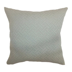 Pillow Collection Inc - The Pillow Collection Inniss Plain Pillow - Aqua Multicolor - P18-MVT-1144-AQUA- - Shop for Pillows from Hayneedle.com! Elegance is key with The Pillow Collection Inniss Plain Pillow Aqua. Made of 100% soft and durable cotton this comfy square pillow features a delightful geometric design that will add charm to your sofa. The plush feather-down insert of this pillow adds luxury. The aqua cover has a clean knife-edge finish on all four sides. A hidden zipper is included for easy removal and cleaning. Dry clean only.About The Pillow CollectionIdentical twin brothers Adam and Kyle started The Pillow Collection with a simple objective. They wanted to create an extensive selection of beautiful and affordable throw pillows. Their father is a renowned interior designer and they developed a deep appreciation of style from him. They hand select all fabrics to find the perfect cottons linens damasks and silks in a variety of colors patterns and designs. Standard features include hidden full-length zippers and luxurious high polyester fiber or down blended inserts. At The Pillow Collection they know that a throw pillow makes a room.