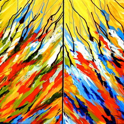 As Far As I Can Reach (Original) by Neha Chaudhary - This piece uses bright, vivid colors that give the viewer a taste of Brazil and Central America. A drip technique is employed to create a sense that the viewer is reaching upward with the brush strokes. The reaching represents perseverance and striving toward goals. The panels can be placed at any distance from each other; shown together with no separation in the picture above. A gorgeous painting to brighten any room.