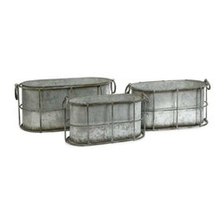 Chandler Metal Tubs - Set of 3 - This set of three galvanized tubs feature a cage like design that gives a shabby chic look to any room.