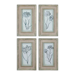 Aqua Flowers Framed Art Set/4 - Prints Are Accented By Frames And Fillets With A Muted Aqua Base Color With Heavy Taupe And Gray Distressing. Frame's Middle Section Is An Open Weave, Taupe Linen Mat.