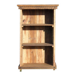The Rusted Nail LLC - Bookcase - Looking for a classic bookcase with a vintage feel? This one, made from salvaged barn wood, holds your taller books on its two lower shelves and your paperbacks and knickknacks on the top shelf. Wrought-iron nails add to the rustic feel of this piece.