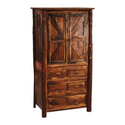 Fireside Lodge Furniture - Barnwood 3 Drawer Armoire w 2 Shelves (Value - Choose Drawer Bottom Type & Leg Type: Value w HickoryBarnwood Collection. 3 Drawers. 2 Door storage cabinet. Drawers bottoms:. Premium: Aromatic Cedar drawer bottoms and full-extension ball-bearing glides rated at 100 lbs.. Value: standard drawer bottoms and nylon roller glides rated at 100 lbs.. All drawer fronts and doors are inset. All hinges are concealed European Style for a clean uncluttered look. Built with authentic reclaimed Red Oak planks from 1800's tobacco barns . Clear-coat catalyzed lacquer finish for extra durability. 2-Year limited warranty. 38 in. W x 25.5 in. D x 72 in. H (300 lbs.)