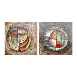 Crestview Collection - Crestview Collection Hilts Abstract Hand-Painted High-Gloss Canvas Wall Art X-86 - Crestview Collection Hilts Abstract Hand-Painted High-Gloss Canvas Wall Art X-8621POTVC