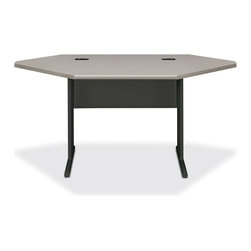HON - HON StationMaster 66000 Series Corner Desk - 6000 Series StationMaster Corner Desk with 29-1/2 Sides is ideal for connecting other components to form and L or U shaped workstation. Features a patterned gray/charcoal 1-1/8 thick High-pressure laminate low-glare top, radius edges and integral wire management ports. C-legs add style and stability with two leveling glides per leg with 3/4 adjustability. Incorporate an easy-to-access wire management channel to keep cords organized and out of sight. Corner Desk is 66 wide x 36 deep x 29-1/2 high. Accommodates under-desk, retractable keyboard platform for ergonomic keying and extra desk space. StationMaster Workstation mix and match components provide versatile desk solutions for use in everything from training and computer rooms to management suites. They meet or exceed applicable ANSI/BIFMA standards.