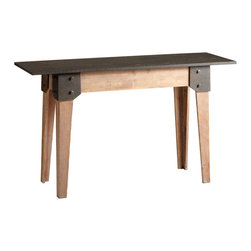 Kathy Kuo Home - Masa Wood Raw Steel Rustic Console Table - The art of understatement is expressed in this rustic industrial chic table.  Scandinavian minimalism and utility inform the neutral palette of natural finished wood and oxidized iron, while industrial details like riveted ends add interest.