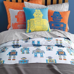 "Robo-bedding - It's alive! After countless hours of tinkering around in our merchandising department, we've brought our robot sheets to life. Our printed robot bedding features an army of blue, green, orange and silver marching robots. A Julia Rothman design 200-thread count Comforter Cover available in Twin or Full-Queen Sheet Set available in Twin or Full Fitted sheet has 12"" pocket depth."