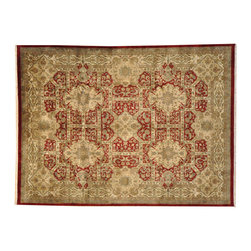 Garden Design Hand Knotted Area Rug, 9'X12' 100% Wool Plush Rajasthan Rug SH7183 - Agra & Rajasthan Hand Knotted Rugs have Persian inspired floral motifs.  They are hand knotted from India and usually consists of 100% Wool.  The colors usually consists of Blacks, Deep Reds, Browns, & Greens.