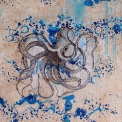 """Tako (Original) by Therese Tucker - """"What part of ourselves can we leave behind to achieve our Highest Good?""""  """"Tako"""" is Japanese for octopus, and he wants to remind you, dear viewer, that we often hold on too long to parts of ourselves that serve as distractions.  """"Tako"""" shows you how buoyantly he floats upward as he leaves the unnecessary behind, reminding you that you can too.  This piece has a deeper secret message attached to the back, intended only for the piece's collector.  This piece was created as part of a series of channeled art for the collection """"Oceania.""""  This piece comes framed in a gorgeous oversized, distressed, pearlized, matte silver frame."""