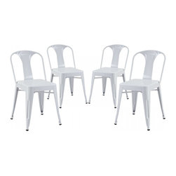 Modway Imports - Modway EEI-1302-WHI Reception Dining Side Chair Set of 4 In White - Modway EEI-1302-WHI Reception Dining Side Chair Set of 4 In White