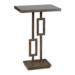 Uttermost - Rubati Accent Table - Striking and sculptural, this accent table makes a bold statement in your decor. The strong iron base is warmed up by a tarnished patina, a perfect complement to the dramatic black glass top.