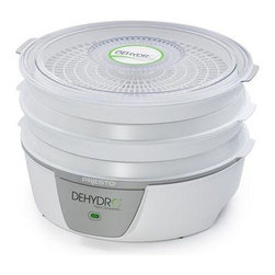 Presto - Dehydro Electric Dehydrator - This expandable four-tray system dehydrates fruits vegetables and makes homemade jerky from meat poultry and seafood. It's easy to use and easy to store! The drying trays nest when not in use for over a 35% reduction in storage space. Dehydration maintains natural vitamins and minerals-with no additives or preservatives. This Presto model includes four drying trays expandable to eight trays for added drying capacity. The bottom-mounted fan and heating element provide consistent air flow for optimum drying with no tray rotation necessary. A see-through cover on the top tray lets you monitor drying progress. Drying trays and cover are fully immersible and dishwasher safe. Accessories sold separately . Additional trays sold separately. Fruit roll sheets nonstick mesh screens jerky gun and jerky seasoning also available.