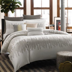 Kenneth Cole Reaction Home - Kenneth Cole Reaction Home Frost Duvet Cover - Elevate the look of your bedroom with the contemporary Frost duvet cover by Kenneth Cole Reaction Home. This artful bedding is elegantly embroidered with geometric patterns on cool earth-tone hues that brings sophisticated taste to your bedroom.