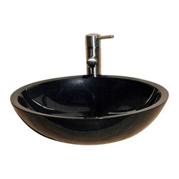The Allstone Group - V-VR18 Black Granite Polished Vessel Sink - Natural stone strikes a balance between beauty and function. Each design is hand-hewn from 100% natural stone.  Vessel sinks can be the most inspiring feature in a bathroom, adding style and beauty to any bath space.  Stone not only is pleasing to the eye but also has the feel of something natural and solid.