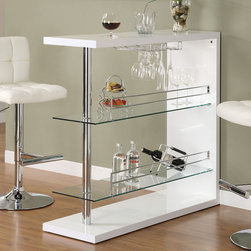 Coaster - Bar Table in White - Entertain in style with the sleek contemporary bar unit featuring 2 glass storage shelves and a wine glass holder. The unit is finished in a gloss white and topped off with chrome accents.