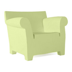 Kartell - Bubble Club Chair - Bubble Club Chair is available in Black, Light Yellow, Light Green, Light Grey, Zinc White or Terracotta.     Bubble Club is characterized by the soft line of its armrests, in contrast with the more rational lines of the backrest. This is a minimalist silhouette, reminiscent of the lines of granny's sofa. Along with the sofa and the small table, produced with the same finish and colors, Bubble Club is now a complete family, nothing less than an industrial living room. Thanks to their exceptional weather resistance, all three members of the Bubble Club family can survive perfectly outdoors and are ideal for furnishing gardens, pool sides and patios. 41.125 inch width x 31.5 inch height x 30.33 inch length.
