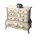 Butler Specialty - Butler Chest - This immaculately proportioned, impeccably hand-carved and beautifully hand-painted four-drawer chest is designed for the discerning consumer. The rounded, bombe flourish on the bottom drawer is another hallmark of its fashion-forward design. What -s more, beyond its aesthetics and fine craftsmanship, this chest provides abundant storage.