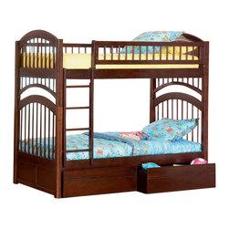 Atlantic Furniture - Atlantic Furniture Windsor Bunk Bed Twin Over Twin in Antique Walnut - Atlantic Furniture - Bunk Beds - AB57104
