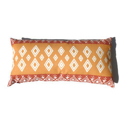 Orange Yellow Kidney Pillow Moroccan African 11 x 22 - Moroccan Throw Pillow in Tangerine / Burnt Orange, Yellow Ochre, and Off White color. This is one of my original textile designs printed on 6 oz weight cotton fabric. Back side is same as front and this pillow has an invisible zipper for easy access. Can be machine washed separately on delicate cycle, cold water with non-phosphate detergent and line dried. However, dry cleaning is recommended for best result. (Style: Moroccan Diamond)