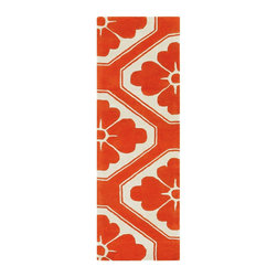 """Chandra - Contemporary Thomaspaul Hallway Runner 2'6""""x7'6"""" Runner Orange-White Area Rug - The Thomaspaul area rug Collection offers an affordable assortment of Contemporary stylings. Thomaspaul features a blend of natural Orange-White color. Hand Tufted of New Zealand Wool the Thomaspaul Collection is an intriguing compliment to any decor."""