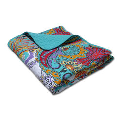 None - Nirvana Quilted Cotton Throw - A sumptuous display of powerful paisleys,this quilted cotton throw combines vibrant colors in an enchanting motif. Reversing to coordinating solid turquoise for a calming,sophisticated look,this Nirvana throw is conveniently machine washable.