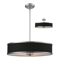 Three Light Brushed Nickel Chocolate Shade Drum Shade Pendant - A chocolate colored shade is paired with brushed nickel bands and hardware to create a simple, contemporary look. This pendant includes an acrylic diffuser to soften the light. For a customized look, adjustable rods are included to ensure the perfect look. This pendant also comes able to be installed as a semi flush fixture.