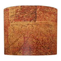 illumalite Designs - Crackle Lamp Shade in Orange - Includes one harp. Brass finish spider fitting. Made from polystyrene. Made in USA. 11 in. Dia. x 9 in. H (1 lbs.)Striking shades of orange and rust create a beautiful look on this shade. The perfect way to refresh the look of any lamp.