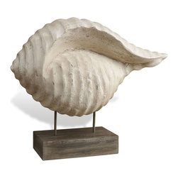 Interlude - Otago Large Shell - Homage to the sea! This hand carved wooden conch shell sculpture has a warm antique white finish, a lovely contrast to the darker wood base. Let it take a stand on your mantel, desk or anywhere that could use a nautical touch.