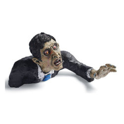 Grandin Road - Halloween Zombie Guy - Halloween Decorations and Decor - Blood-red eyes light up. Zombies and Dog make horrifying moaning and howling sounds. Each requires three AA batteries (not included). Crafted from weather resistant resin, these ground breaker Halloween creatures will claw their way through your (grave)yard for eternity. . . .