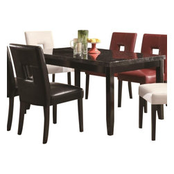 "Coaster - Dining Table (Deep Cappuccino) By Coaster - This dining table features a beautiful dark faux marble top. A casual style finished in cappuccino. Matching chairs are available separately. Dimensions: 60""X 36"" X 30""."