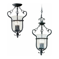 Sea Gull Lighting - 3-Light Semi-Flush Weathered Iron - 5101-07 Sea Gull Lighting Manor House 3-Light Semi-Flush Convertible Pendant with a Weathered Iron Finish