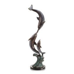 """SPI - Playful Dolphin Trio - -Size: 23.5"""" H x 7.5"""" W x 7.5"""" D"""