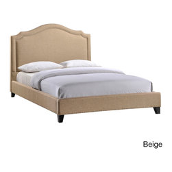 None - Charlotte Queen Size Bed - Powerful lines complement soft hues with this subtly elegant bed. Luxuriously crafted with a nail head decorative trim and tufting, Charlotte is a bedroom centerpiece that embodies elegance while bestowing a gentle flow over your surroundings.