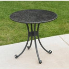Patio Bistro Table with Granite Top - Granite-topped outdoor bistro-style table.