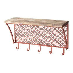 MIDWEST CBK - Metal Shelf with Wood Top and Hooks - Metal Shelf with Wood Top and Hooks. Shop home furnishings, decor, and accessories from Posh Urban Furnishings. Beautiful, stylish furniture and decor that will brighten your home instantly. Shop modern, traditional, vintage, and world designs.