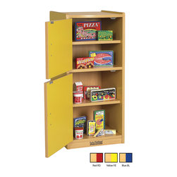 Ecr4kids - Ecr4Kids Colorful Essentials Kids Pretend Play Kitchen Refrigerator Set Blue - A charming, laminate play refrigerator built to endure endless hours of play. rounded edges for safety and style, easy to reach shelves with plenty of room for storage of your favorite toy foods and dishes, and magnetic latches and full-length continuous piano hinges. Encourages dramatic play and social interaction in the classroom or home. Available in an easy-to-clean warm maple laminate and coordinating edgebanding with primary colored sides that match all items in the Colorful Essentials product line.