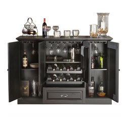 "American Heritage - American Heritage Carlotta Bar in Antique Black - The 60"" Carlotta Bar is truly the perfect combination of beauty and function. It serves as a wonderful accent piece that fits right into any room but easily converts into a server's dream. Finished in Antique Black with Charcoal Bronze Accent hardware, glass stemware holders line the top of this cabinet. Adjustable shelves and a pull-out drawer add additional, versatile storage, and the dual pull-out wine racks can hold up to 8 bottles of wine. The Carlotta will instantly become the gem of any room it graces. - 600055AB.  Product features: Two pull-out wine storage racks; Easy Glide Storage Drawer; Glass Stemware Holder; Bottle Opener and towel rack; Ample shelving for storage; Gentle-touch Magnetic Catches; No Assembly Required; Charcoal Bronze Hardware; Custom select hardwood and veneer; Custom select hardwood and veneer. Product includes: Bar (1). Bar in Antique Black belongs to Carlotta Collection by American Heritage."