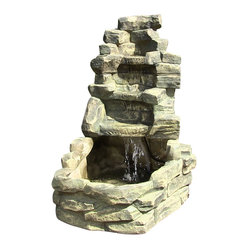 "Serenity Health & Home Decor - Stone Falls Outdoor Water Fountain - 37"" Tall x 30"" Deep x 20"" Wide, Fountain Weight:46 lbs Water depth in lower pool can be up to 6.5"""