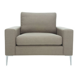 Bryght - Sage Modern Metal Leg Armchair | Nova Modern Furniture - The Nova collection characterizes a Danish design that elegantly unifies modern minimalist lines with functionality. Upholstered to perfection in a Musty Sage fabric that brings forth elements of harmony and affinity to your space.