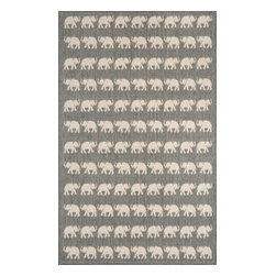 """Trans-Ocean - Elephants Silver 39"""" x 59"""" Indoor/Outdoor Flatweave Rug - Casual and Simple pattern combined with beautifully blended yarns in modern colors make this Machine Made rug rise above the rest. Wilton Woven in Turkey of 100% Polypropylene and UV stabilized for Indoor or Outdoor use. A loose weave of Polypropylene creates the look of natural fibers but is easy to care for."""