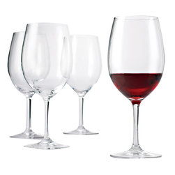 Wine Enthusiast - Wine Enthusiast Break-Free PolyCarb Cabernet/Merlot Wine Glasses - Ah, one less thing to worry about at your next get-together or party. This set of cabernet or merlot wineglasses made of polycarbonate is dishwasher safe and offers everything that fine crystal glasses offer, except that they won't ever break. They're great for indoor or outdoor events, including picnics or hanging around the pool.