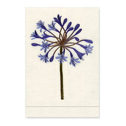 Agapanthus Guest Towel - Decorate your bath or powder room with this charming linen guest towel intricately embroidered with a beautiful blue agapanthus.
