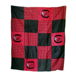 Traditions Art Glass Studios - South Carolina Quilt - -Large 50 x 60 Ultra suede patchwork quilt with chenille school logos  -Great for tailgating, keeping warm at games, or watching games on TV  -Machine washable. Traditions Art Glass Studios - SC805