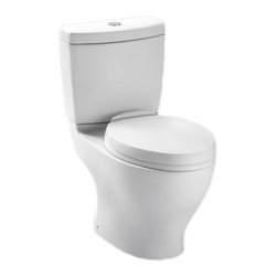 Toto - Toto CST416M#01 Aquia II Dual-Flush Toilet (Cotton White) - The retangular build and modern styling of the Aquia series will bring a contemporary feel and beautiful look to any bath.