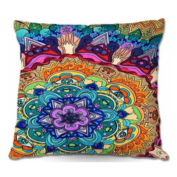 DiaNoche Designs - Pillow Woven Poplin - Microcosm Mandala - Toss this decorative pillow on any bed, sofa or chair, and add personality to your chic and stylish decor. Lay your head against your new art and relax! Made of woven Poly-Poplin.  Includes a cushy supportive pillow insert, zipped inside. Dye Sublimation printing adheres the ink to the material for long life and durability. Double Sided Print, Machine Washable, Product may vary slightly from image.
