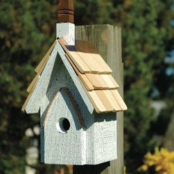 Heartwood - Classic Chapel Bird House - This  beautiful  bird  house  is  the  perfect  addition  to  any  home  or  garden  of  your  choice.  The  little  piece  of  birding  heaven  comes  complete  with  crackle  finish,  solid  cast  iron  steeple  and  a  copper  cleanout  door.  You  can't  offer  your  flock  a  more  charming  sanctuary,  and  that's  the  gospel  truth!  This  bird  house  is  one  you  are  sure  to  enjoy  in  the  years  to  come.                  6x7x16              1-1/4  hole              Handcrafted  in  USA  from  renewable,  FSC  certified  wood